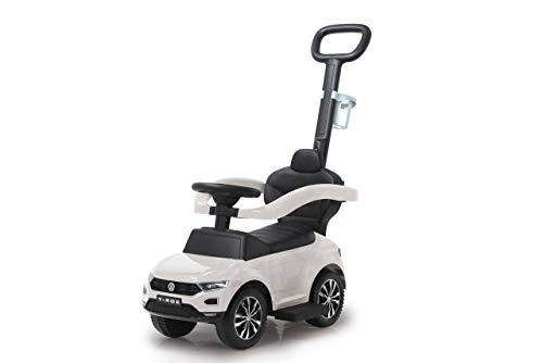 JAMARA 460463 - Rutscher VW T-ROC 3in1-Kippschutz, Kofferraum, Schub-und Haltestange mit Lenkfunktion, Rückenlehne, seitlichen Schutzbügel, ausziehbare Fußauflage, Sound/Hupe am Lenkrad, weiß