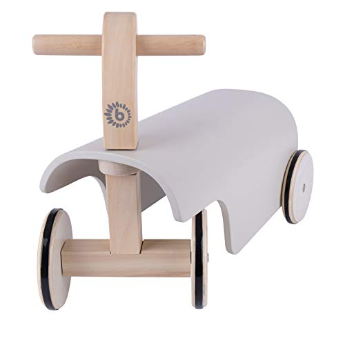 Bieco Rutschauto Holz   weiß   Modernes Holz Rutschfahrzeug ab 1 Jahr   Holz Rutscher mit Gummibereifung   Vierrad Babyrutscher Holz in klassischem Design   Rutschfahrzeug Holz belastbar bis 15 kg