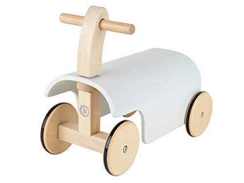 Bieco Rutschauto Holz | weiß | Modernes Holz Rutschfahrzeug ab 1 Jahr | Holz Rutscher mit Gummibereifung | Vierrad Babyrutscher Holz in klassischem Design | Rutschfahrzeug Holz belastbar bis 32 kg