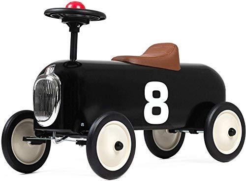 Baghera Rutschauto Racer Schwarz | Rutschfahrzeug für Kinder - zahlreiche lebensechte Details | Retro Rutschauto für Kinder ab 1 Jahr