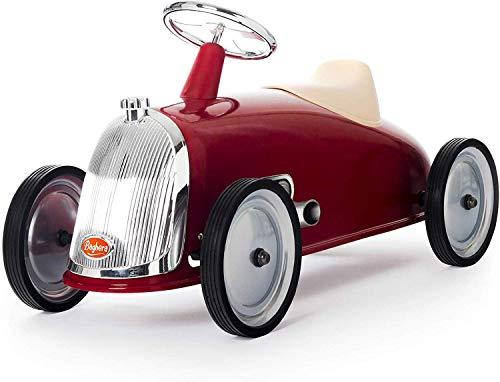 Baghera Rutschauto Rot | Rutschfahrzeug XL für Kinder mit zahlreichen lebensechten Details | Retro Rutschauto für Kinder ab 2 Jahren