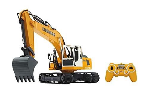 Jamara 405060 - Bagger Liebherr R936 1:20 2,4G - realistische Funktionen (entladen/ aufladen), jedes Gelenk einzeln steuerbar, 660 ° Turmdrehung, Metallschaufel, Motorsound, Hupe, Rückfahrwarnsound