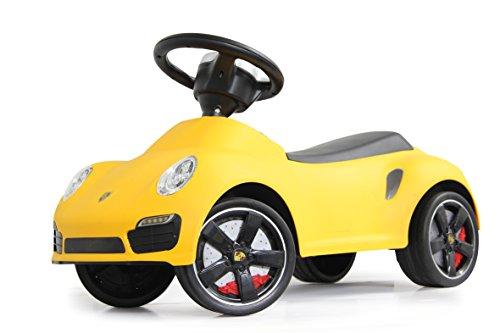 Rutscher Porsche 911 gelb – Kippschutz, Flüsterreifen, echte Scheinwerferattrappen, Hupe am griffigen Lenkrad, offiziell lizenziert mit originalgetreuer Optik, wertige Verarbeitung