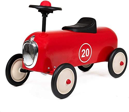 Baghera Rutschauto Racer Rot | Rutschfahrzeug für Kinder - zahlreiche lebensechte Details | Retro Rutschauto für Kinder ab 1 Jahr
