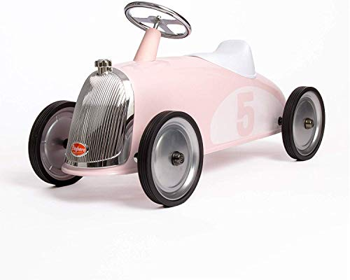 Baghera Rutschauto Blütenblatt Rosa | Rutschfahrzeug XL Rosa für Kinder mit zahlreichen lebensechten Details | Retro Rutschwagen für Kinder ab 2 Jahren