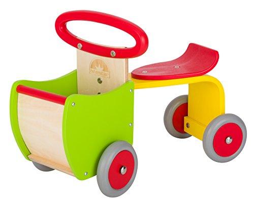 BIKESTAR Rutscher Rutschfahrzeug Rutschauto Lauflernwagen für Kinder und Kleinkinder ab 1 – 1,5 Jahre  Holz Feuerwehr Auto Kinderfahrzeug mit Lenkung, Flüsterreifen und Ladefläche  Rot