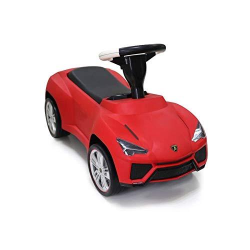 ES-TOYS Kinderauto - Rutscher - Auto Lamborghini Urus lizenziert - mit Ledersitz (Rot)