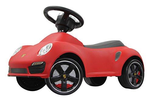 Rutscher Porsche 911 rot – Kippschutz, Flüsterreifen, echte Scheinwerferattrappen, Hupe am griffigen Lenkrad, offiziell lizenziert mit originalgetreuer Optik, wertige Verarbeitung