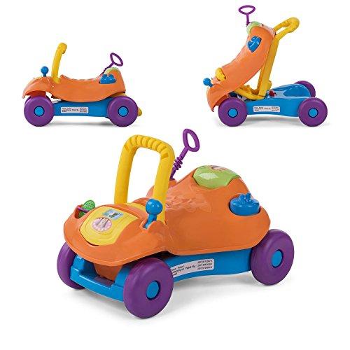 Baby Vivo Lauflernwagen Lauflernhilfe 2in1 Rutschauto Laufwagen Laufhilfe Kinder Baby Walker Multifunktional - Orange