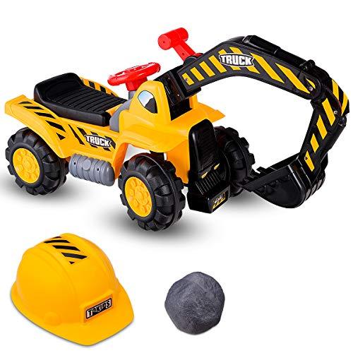 DREAMADE Sitzbagger für Kinder, Kinderbagger mit Helm, elektrischer Sandbagger (ohne Batterie), realistisches Fahrerlebnis mit Hupe, geeignet für Kinder ab 3 Jahre, gelb
