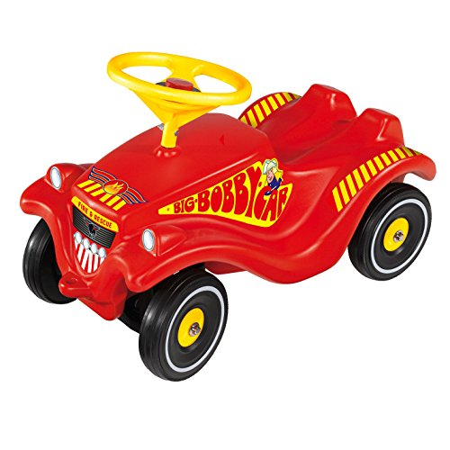 Big 800056105 - Rutschauto Bobby Car - Feuerwehr mit Flüsterreifen, rot/gelb