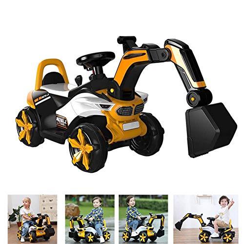 ZDSKSH Elektrischer Sitzbagger für Kinder Starke Riesen Bagger, Baufahrzeug Schaufelbagger, großer Spielzeugbagger zum Sitzen bis 50 kg, Baggerfahrzeug für Kinder ab 3 Jahre,Gelb